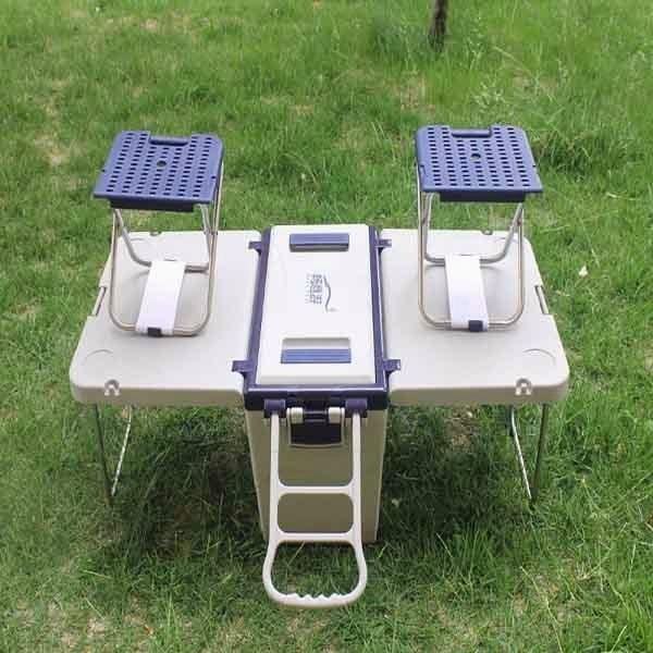 Mesa con sillas portátil para acampar - nevera mesa playa